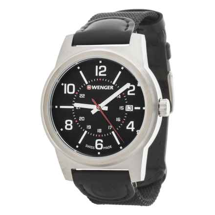 Wenger Field Classic Black Dial Swiss Quartz Watch - 43mm, Leather and Canvas Strap in Black/Black - Closeouts