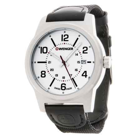 Wenger Field Gear Analog Swiss Quartz Watch - Nylon Strap in White/Black - Closeouts