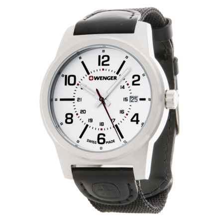 Wenger Field Gear Analog Swiss Quartz Watch - Nylon Strap in White/Black - Closeouts