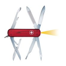 Wenger Genuine Swiss Army Tool Chest Microlight Pocket Knife - 2-Blade in Translucent Red - Closeouts
