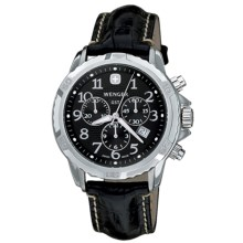Wenger GST Watch - Leather Band (For Men) in Black/Black - Closeouts