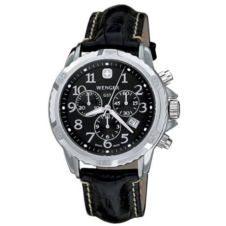 Wenger GST Watch - Leather Band (For Men) in Black/Black