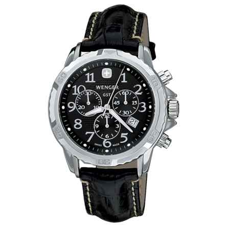 Wenger GST Watch - Leather Strap (For Men) in Black/Black - Closeouts