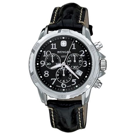 Wenger GST Watch - Leather Strap (For Men) in Black/Black
