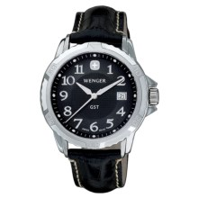 Wenger GST Watch - Leather Strap (For Men) in Black Dial/Black Strap - Closeouts
