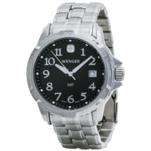 Wenger GST Watch - Stainless Steel Bracelet (For Men) in Black Dial/Silver Braclet - Closeouts