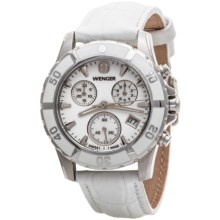 Wenger Ladiales Chronograph Watch - Leather Band (For Women) in White/White - Closeouts