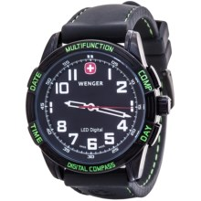 Wenger LED Nomad Compass Watch (For Men) in Black/Black/Green Led - Closeouts