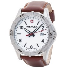Wenger Platoon Watch - Leather Strap (For Men) in White/Brown - Closeouts