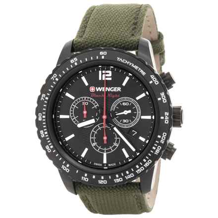 Wenger Roadster Chrono Watch - 45mm, Leather and Nylon Strap (For Men) in Black/Green - Closeouts
