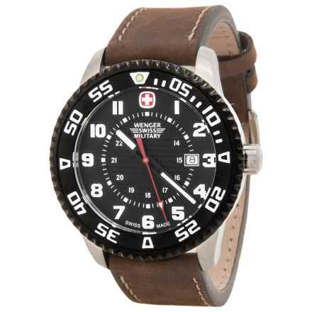 Wenger Roadster Swiss Quartz Watch - 45mm, Leather Strap in Black/Brown - Closeouts