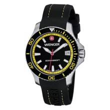 Wenger Sea Force Diving Watch - Silicone Strap (For Men) in Black/Yellow - Closeouts