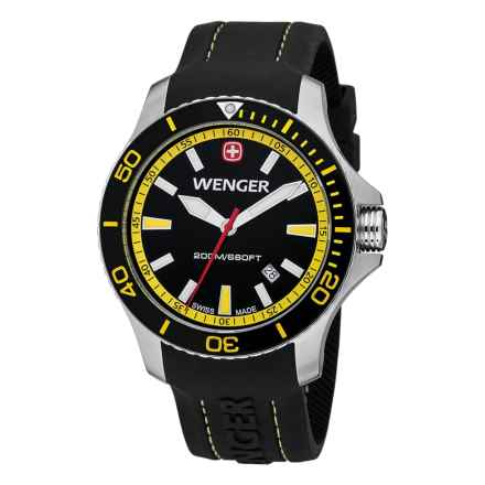 Wenger Sea Force Watch - Rubber Strap (For Men) in Black/Yellow/Black - Closeouts