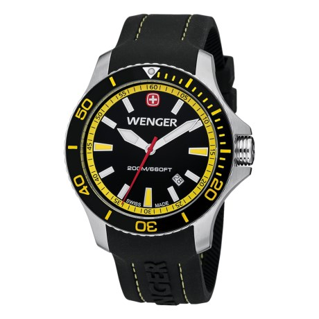 Wenger Sea Force Watch - Rubber Strap (For Men) in Black/Yellow/Black