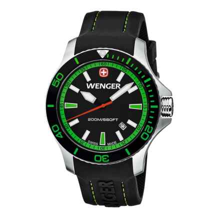 Wenger Seaforce Swiss Quartz Watch - 43mm, Rubber Strap in Black/Black/Green - Closeouts