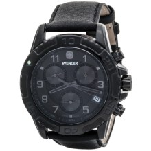 Wenger Special Edition Zurich Chrono Watch - Leather Band (For Men) in Black/Black - Closeouts