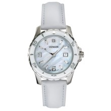 Wenger Sport Mother-of-Pearl Watch - Leather Strap (For Women) in White/White - Closeouts