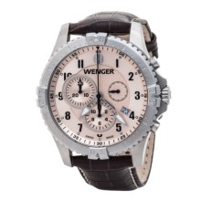 Wenger Squadron Chrono Watch - Leather Strap (For Men) in Copper/Brown - Closeouts