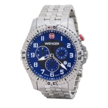 Wenger Squadron Chrono Watch - Metal Bracelet (For Men) in Blue/Stainless Steel - Closeouts
