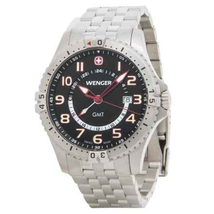 Wenger Squadron GMT Watch - 43mm, Stainless Steel Bracelet (For Men) in Black/Silver - Closeouts