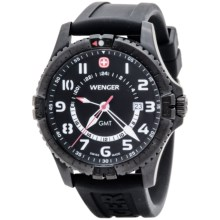 Wenger Squadron GMT Watch (For Men) in Black White/Black - Closeouts