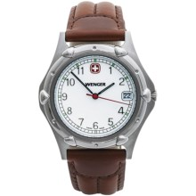 Wenger Standard Issue Watch - Leather Strap in White/Brown - Closeouts