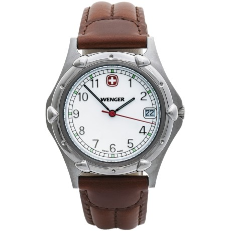 Wenger Standard Issue Watch - Leather Strap in White/Brown
