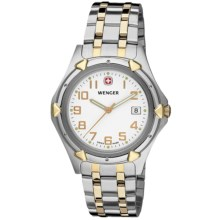 Wenger Standard Issue XL Watch - Stainless Steel (For Men) in White/Stainless Steel/Gold - Closeouts