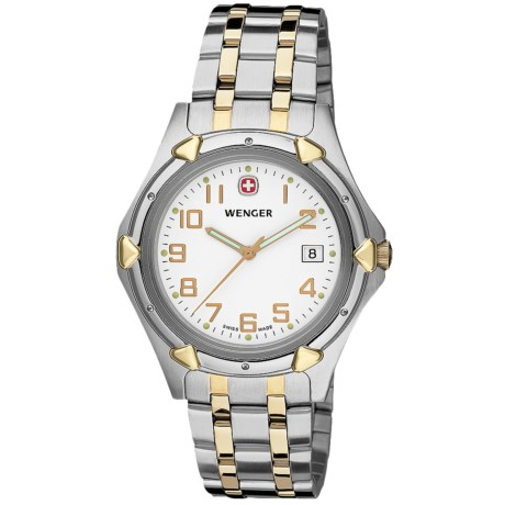 Wenger Standard Issue XL Watch - Stainless Steel (For Men) in White/Stainless Steel/Gold