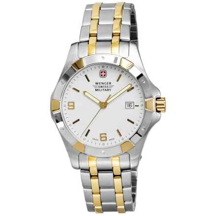 Wenger Swiss Military Alpine Elite Analog Watch - 42mm, Two-Tone Stainless Steel in White/Silver/Gold - Closeouts