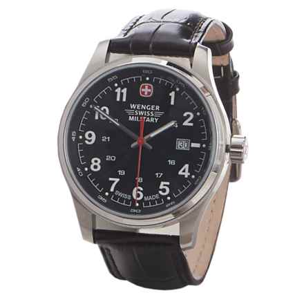 Wenger Swiss Military Analog Watch - Leather Strap (For Men) in Black/Brown/Silver - Closeouts
