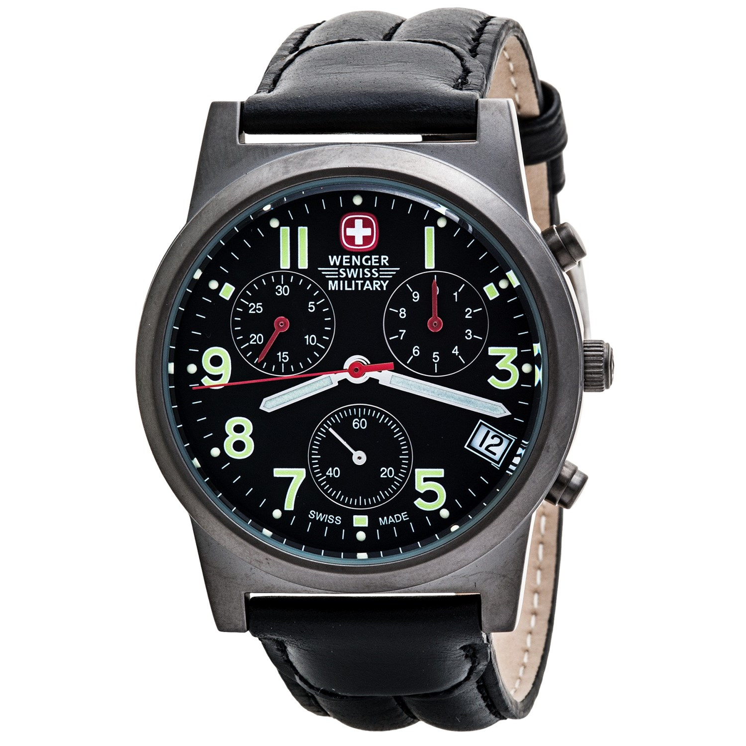 wenger swiss chronograph leather band