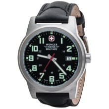 Wenger Swiss Military Classic Field Sport Watch - Leather Band (For Men) in Black Dial/Black Strap - Closeouts