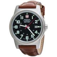 Wenger Swiss Military Classic Field Sport Watch - Leather Band (For Men) in Black Dial/Brown Strap - Closeouts