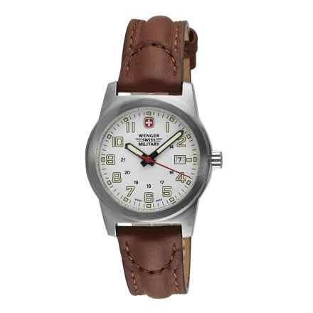 Wenger Swiss Military Classic Field Sport Watch - Leather Strap (For Women) in White/Brown - Closeouts