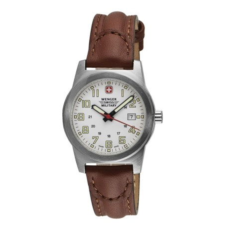 Wenger Swiss Military Classic Field Sport Watch - Leather Strap (For Women) in White/Brown