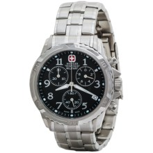 Wenger Swiss Military GST 07 Chronograph Watch (For Men) in Black Dial/Silver Braclet - Closeouts