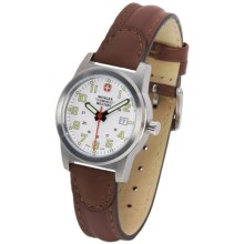 Wenger Swiss Military Sierra Field Watch - Leather Band (For Women) in White/Brown - Closeouts