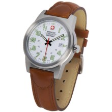 Wenger Swiss Military Sierra Field Watch - Leather Band in White/Brown - Closeouts