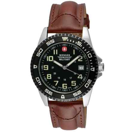 Wenger Swiss Military Sport VII Analog Watch - 42mm, Leather Strap in Black/Brown - Closeouts