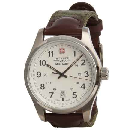 Wenger Swiss Military Terragraph Field Analog Watch - Leather Strap (For Men) in Silver/Khaki/Brown - Closeouts