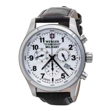 Wenger Terragraph Chrono Watch - Leather Strap (For Men) in White/Brown - Closeouts