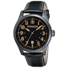 Wenger Terragraph Gunmetal PVD Watch - Leather Strap (For Men) in Gunmetal Black/Black - Closeouts