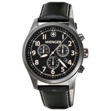 Wenger Terragraph PVD Chrono Watch - Leather Strap (For Men) in Black/Black - Closeouts