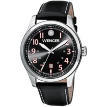 Wenger Terragraph Watch - Leather Strap (For Men) in Gent Cool Grey/Black/Orange - Closeouts