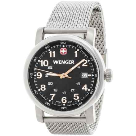 Wenger Urban Analog Watch - 41mm, Stainless Steel Mesh Bracelet in Black/Silver - Closeouts