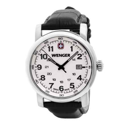 Wenger Urban Class L2 Watch - Leather Strap (For Men) in White/Brown - Closeouts