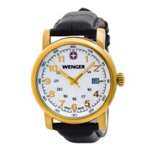 Wenger Urban Class L2 Watch - Leather Strap (For Men) in White Yellow/Black - Closeouts