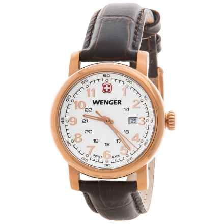 Wenger Urban Classic Analog 34mm Watch - Leather Strap (For Women) in White/Brown - Closeouts