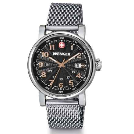 Wenger Urban Classic Analog Watch - 34mm, Steel Mesh Bracelet (For Women) in Black/Silver - Closeouts